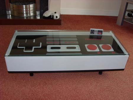 Mesa de café con forma de mando de NES