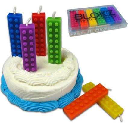 Velas de cumpleaños con forma de bloques de LEGO