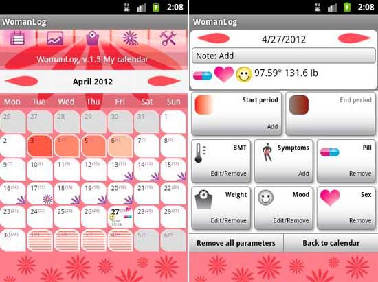 Calendario De Periodo Menstrual.Womanlog Aplicacion De Calendario De Ciclo Menstrual