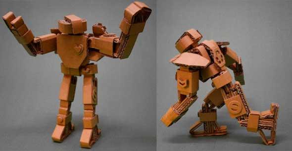 figuras de robots articulados hechos de cart n. Black Bedroom Furniture Sets. Home Design Ideas