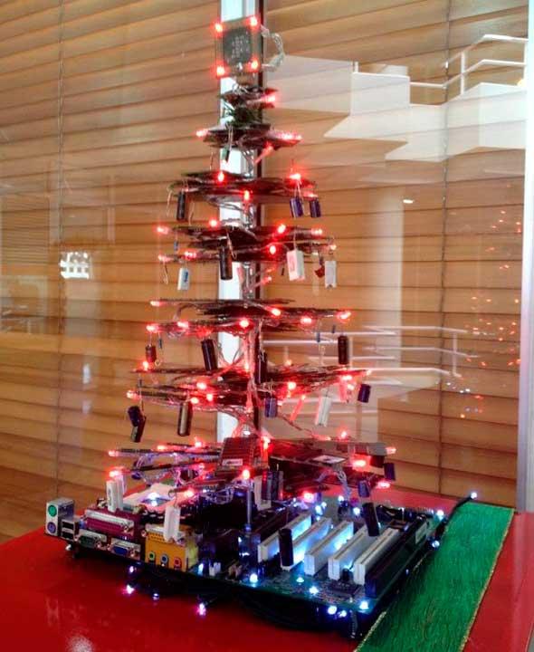 Árbol Navidad geek placa base