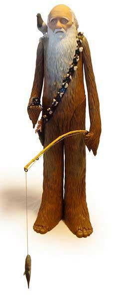 figura acción Chewbacca y Charles Darwin