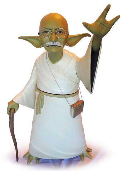 Figuras acción Yoda Mahatma Gandhi