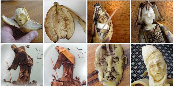 Caras y figuras con plátanos de Victor Nunes