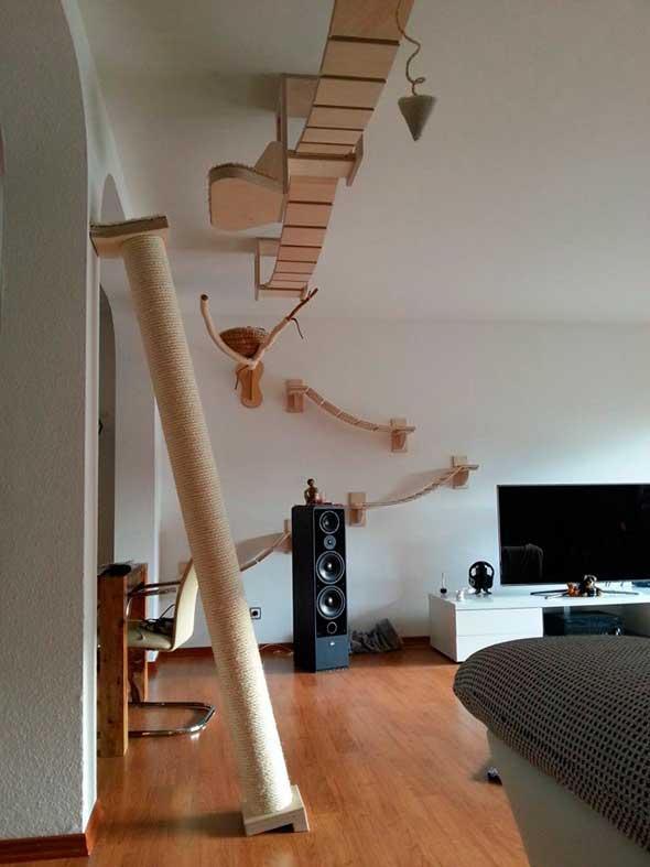 Juguetes y muebles modulares para gatos para paredes y techos