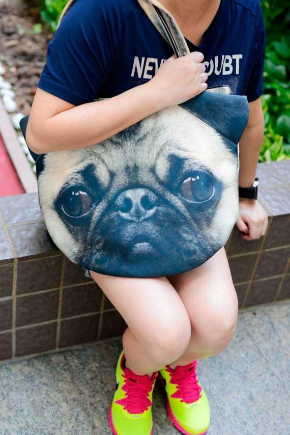 Bolsos con caras de animales; perros