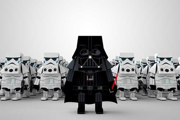 Bonitas figuras papercraft de La guerra de las galaxias