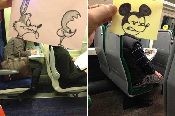 October Jones, un dibujante que hace caricaturas en sus viajes en tren