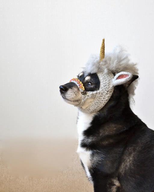 Careta de unicornio para perro
