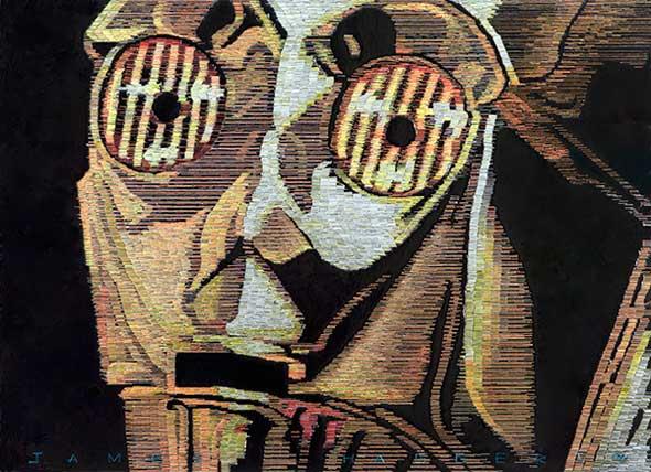 Mosaico de C-3PO hecho con grapas