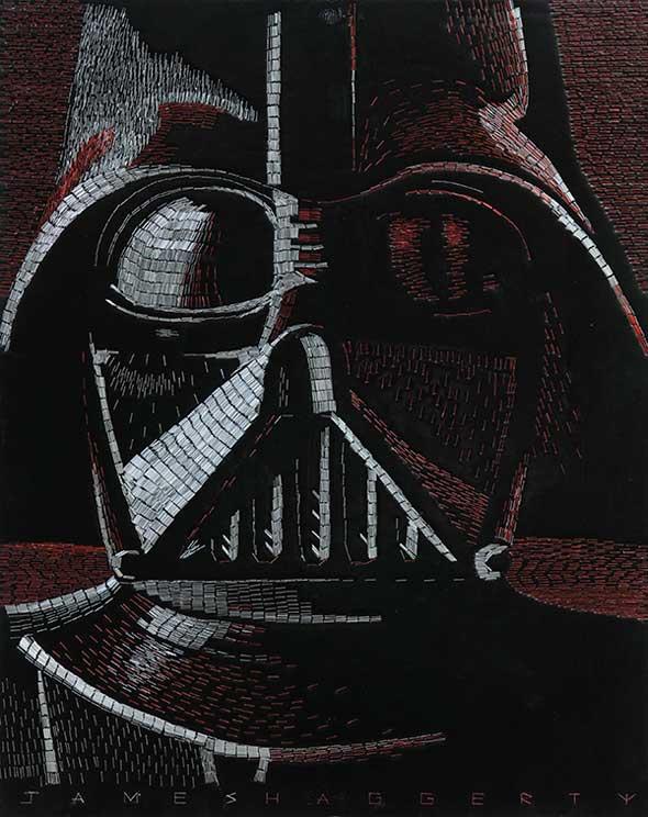 Mosaico de Darth Vader hecho con grapas