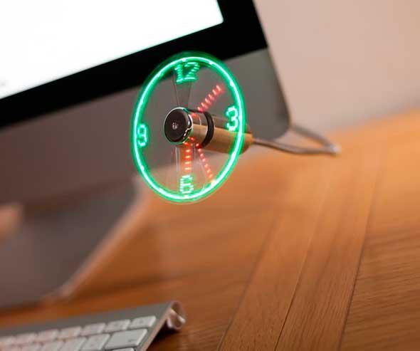 Reloj LED ventilador USB