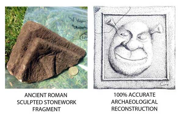Reconstrucción arqueológica de una talla romana