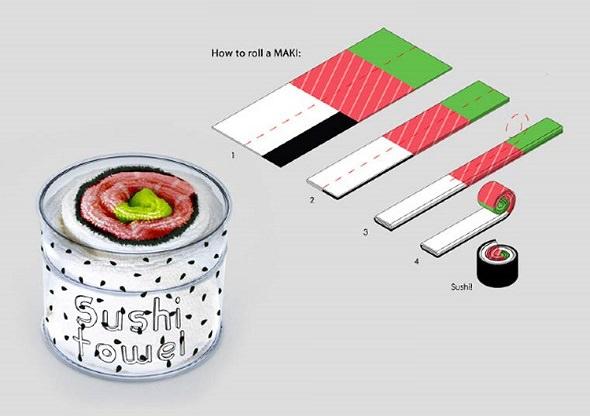 Sushi Towel, paños de cocina en forma de Maki Sushi