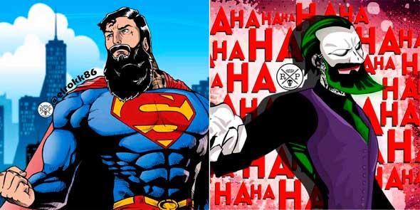 Superhéroes y otros personajes de la cultura pop con barba y tatuajes
